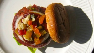 Giardiniera-topped Mount Burger