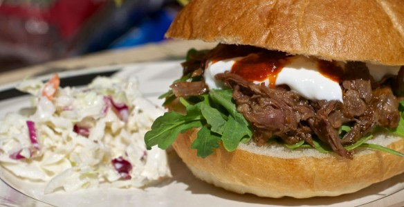 Goat Sandwich on Baby Arugula with Greek Yogurt and Harissa