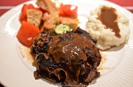 Slow-Cooked Beef Cheeks, Panzanella. and Garlic Mashed Potatoes