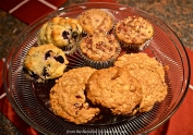 Blueberry Muffins: Tart Cherry Muffins; and Chocolate Chip, Oatmeal Cookies with Two Chocolates, Dried Cherries, and Almonds.