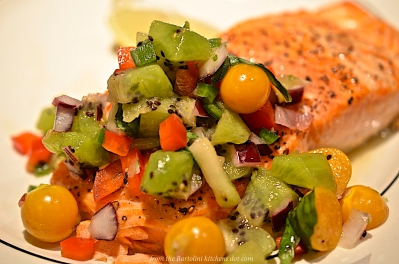 Ground Cherry -Kiwi Salsa with Ocean Trout