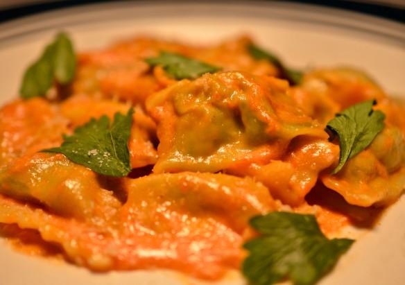 Agnolotti served