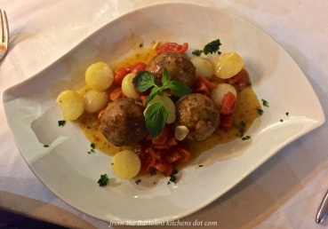 Meatballs of angler fish & tuna, potato, parsley, majoram, flour, cherry-like tomatoes, olive, capers, extra virgin olive oil