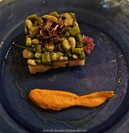 Tartar of asparagus and broad beans with potatoes and sprouts