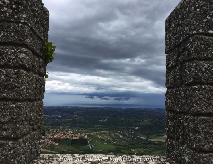 The Adriatic as seen in the distance from a parapet